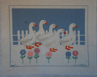 Vintage 1986 Embroidery Geese on Parade Charlotte Reilly Creative Circle