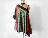 Boho Layer Top Pink Floyd Concert Tee Hippie Festival Gypsy Poncho Off Shoulder Shirt DIY Band T-Shirt Upcycle Clothing Summer Tunic 'BECKIE