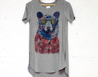 Hipster Bear Ladies High-Low Side Slit Tshirt