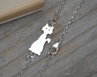 Cat Bracelet Anklet With In Solid Sterling Silver Handmade In England