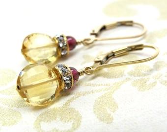 Natural Citrine Earrings, Gold Filled, AAA Stone Coin Gemstone Drop, Garnet Accent, November Birthstone Jewelry, Birthday Gift, Handmade
