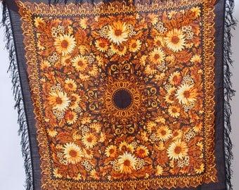Vintage RUSSIAN Shawl Floral Scarf GYPSY Shawl Black FRINGE Boho Scarf