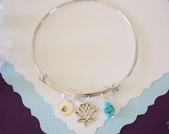 Personalized Lotus Bangle Bracelet Silver, Initial Bangle, Expandable, Sterling Silver, Mommy Charm, Friendship, Monogram, BFF, Turquoise