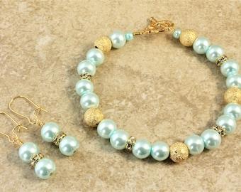 Light Blue Glass Pearl Gold Wedding Bracelet and Earrings Set Bridal Bridesmaid Bride