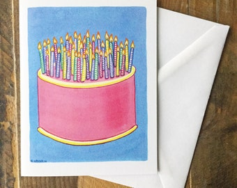 Greeting Card Blank Inside - Birthday Cake Painting