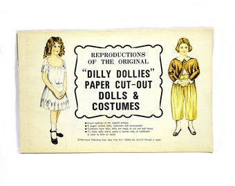 Vintage Paper Doll Book / Unused Reproduction DILLY DOLLIES Paper Cut-Out Dolls & Costumes / Paper Ephemera / Play Pretend / Craft Supplies