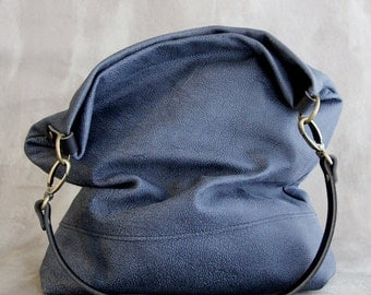 Charcoal Blue Grey Leather Hobo Bag