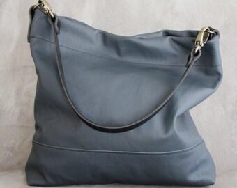 Steel Blue Grey Leather Bag