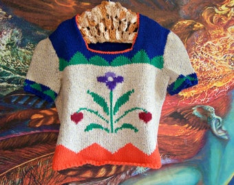 Girls Mexican Top,  Vintage Mexican, Knit, Sweater Top, estimate size M
