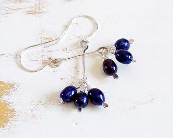 Blue Pearl Earrings, Sterling Silver Pearl Dangle Earrings, Long Pearl Earrings, Pearl Drop Earrings, Handmade Silver Jewellery