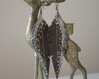 Grey, Silver and Gold Hand-painted Reclaimed Leather Feather Earrings