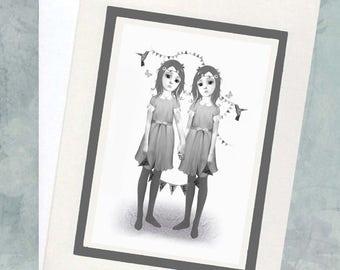 Big Eyes Art Card - Sisters Greeting Card - Sisters Art Card - Art Card - Greeting Card - Sisters
