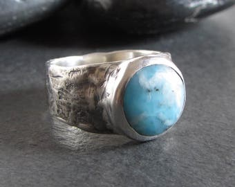Sterling silver and sky blue larimar ring / size 7.5 / rustic ring / stone ring / artisan ring / oxidized ring / boho ring / organic ring