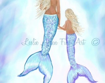 "Mermaid Art Print Mermaid Painting Mermaid Decor Mermaids Siren Beach Art Ocean Mermaid Decor  ""MERMAIDS GENTLE LOVE"" Leslie Allen Fine Art"