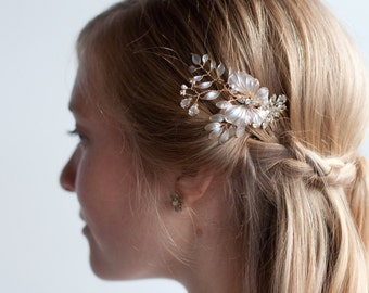 Butterfly Wedding Comb, Gold pearl hair comb, Wire wedding hair comb, ivory floral hairpiece with leaves, crystal rhinestone floral vine