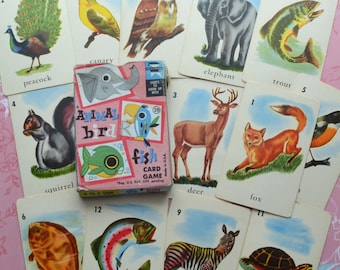 Vintage 1959 Animal Bird Fish Playing Card Game with Flip Movie Ed-U-Cards