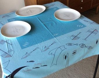 Vintage Mid Century Modern Fish Tablecloth Wonderful California Hand Prints Blue Turquoise 50's 60's Fabric