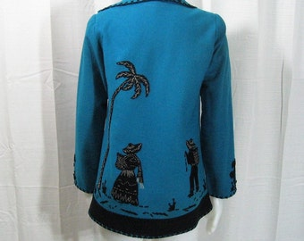 40s 50s Vintage Jacket Mexican Souvenir Turquoise Blue & Black Wool Felt Applique + Embroidery Peasants Palms Cactus, Garcia Leal, Bust 32