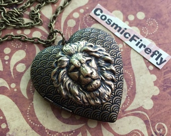 Big Lion Heart Necklace Brass Lion Head Locket Necklace Antiqued Brass Locket Heart Locket Leo Lion Jewelry Women's Locket Valentine's Gift
