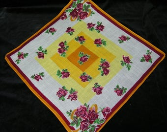 "Vintage UNUSED 1940's 13""  Cranberry, Good, Pink Roses Floral Wedding, Bridesmaid Handkerchief or Doily, 9826"
