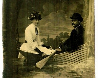 Woman & Man in a Boat - Bowler Hat / Mustache - Arcade Photo Tintype