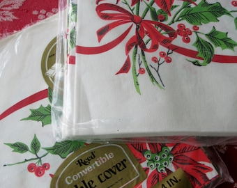 Vintage Holiday Poinsettia and Ribbon Paper Christmas Table Covers 2 packages