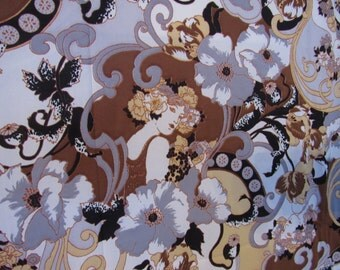 RARE Vintage 1970s Mucha Ladies Floral Tricot Polyester Knit Fabric over 2 yards!