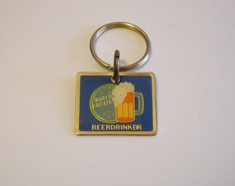 World's Best Greatest Drinker brass 70s keychain