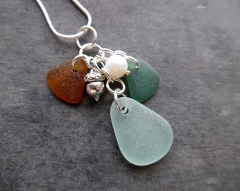 Sea Glass Charm Necklace Acorn Beach Jewelry Sterling Pendant