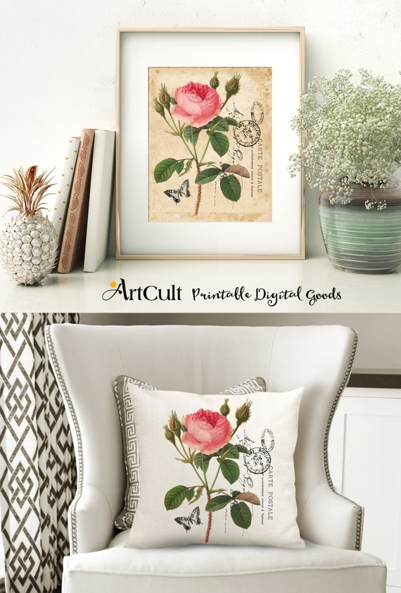 2 Digital Sheets BIG ROSE Images Printable downloads to print on fabric or paper, Iron On Transfer for tote bags t-shirts pillows, wall art