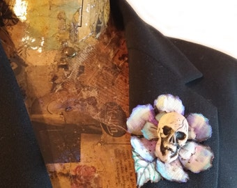 Polymer Clay and Fabric SKULL BROOCH, Gothic, Ooak sculpture, Fabric Flower paint, Mixed media jewelry