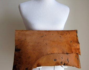 LEATHER Large Oversized Huge Clutch Bag Purse Shoulder Strap Cross Body - Raw, Rustic w/ Raw Edge & Fringe - Patchy Hair on Hide
