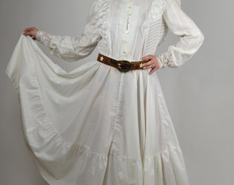 Vintage Dress, White Dress, Victorian Style Dress, Steampunk Dress, White Boho Dress, Prarie Dress, 1980 Dresses, Country Western Dress