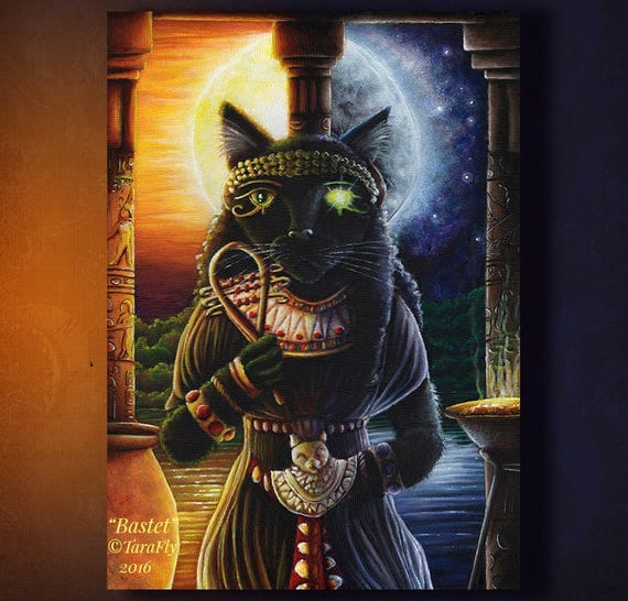 Bastet Egyptian Cat Goddess Sun and Moon Fine Art Print 5x7