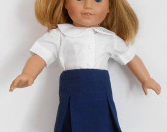 "Navy blue school uniform skirt with white blouse fits 18"" dolls like American Girl"