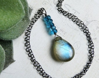 "Labradorite Necklace, London Blue Topaz, Oxidized Sterling Silver - ""Lightning Crashes"" by CircesHouse on Etsy"