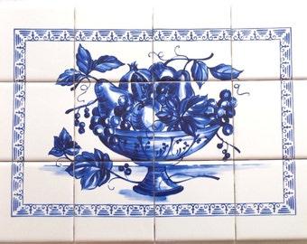 """Blue Fruit Ceramic Tile Mural 12pc 17"""" x 12.75"""" Kiln Fired Back Splash Delft"""