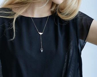 Herkimer Diamond Triangle Necklace