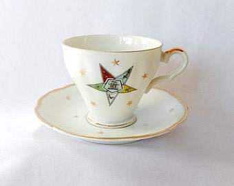 Lefton order of Eastern Star/cup and saucer/OES/Masonic order/fine china/collectible