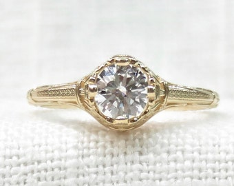 Art Deco Diamond Engagement Ring in 14k Yellow Gold .65 Carat; Vintage Promise Ring; Natural Diamond Gemstone; 1920s Diamond Ring