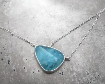Aquamarine in Sterlings Silver Asymmetrical Necklace