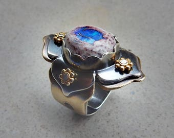 RESERVED  for JAMIE C. Lotus Ring with Blue Mexican Fire Opal, Mystery, Variety, Progress, Change, Kundalini, Sacral Chakra, Throat Chakra