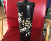 Vintage Toilet Brush Holder - Retro Bathroom Storage - Gold, White & Black Floral