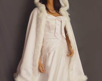Fur trim satin cloak cape shawl cover wedding coat renaissance bridal mid length medieval wrap Available in white, ivory, black CLK202