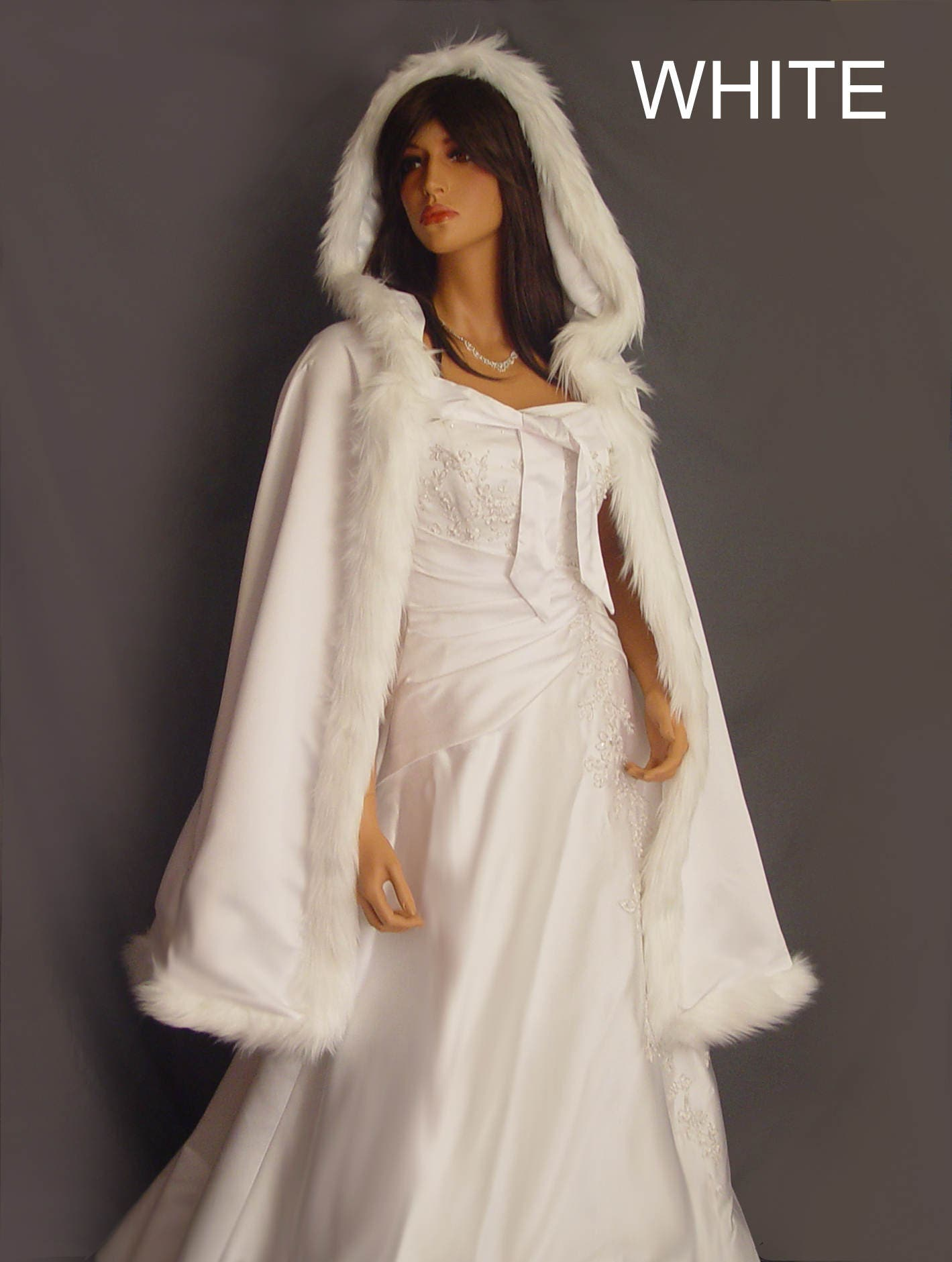 Fur trim satin cloak cape shawl cover wedding coat renaissance bridal mid length medieval wrap Available in white, ivory