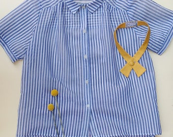 Collar Blouse in striped lightweight cotton in light blue and white, sailor style Oversize blouse, collared