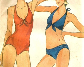 Vintage 70s Butterick 5487 UNCUT Misses One Piece Swimsuit or Bikini Sewing Pattern Size 14 Bust 36