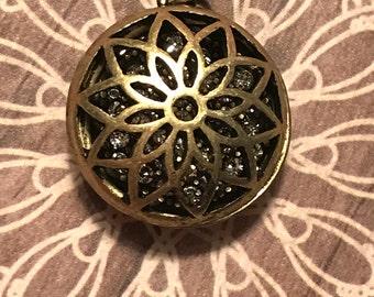 Antique Brass Glitter Floral Cage Pendant, glitter bead pendant, floral cage charm, brass dome pendant