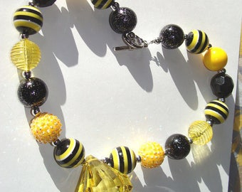 Chunky Yellow Diamond Bling Necklace,Summer Outdoors,Girls Jewelry,Bumble Bee Inspired,Black And Yellow,Fun Fashion Jewelry,Summer Party