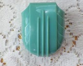 Vintage W&S Deep Robin's Egg Blue / Light Teal / Turquoise Art Deco Celluloid Ring Box, Ivory Satin, Engagement Ring Box, Presentation Box